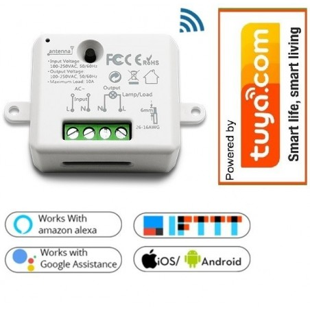 Wifi smart actor 10A inbouw, 2300W,Tuya compatible, woox compatible.