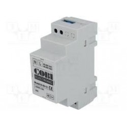 Din rail voeding 230Vac 12Vdc. Maximale vermogen 30W. 2 modules breed.